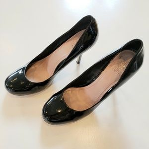 Vince Camuto Solid Black Leather Heels 11M